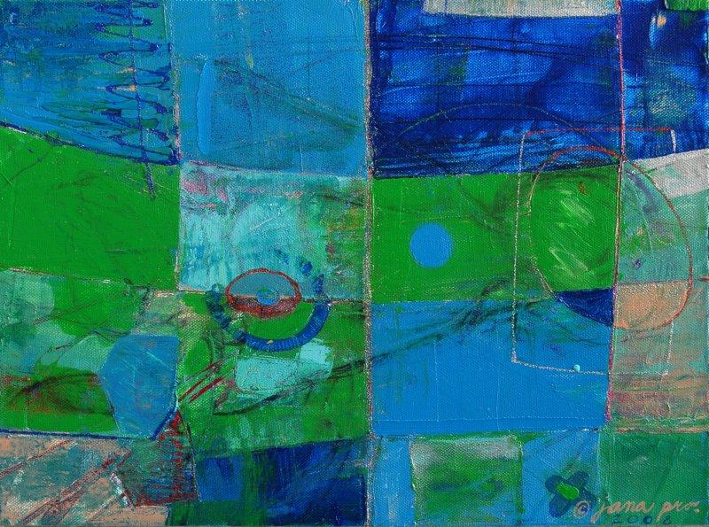 Abstrakce 006 , efektní akryl na plátně 2008, 30x40 cm (prodáno)